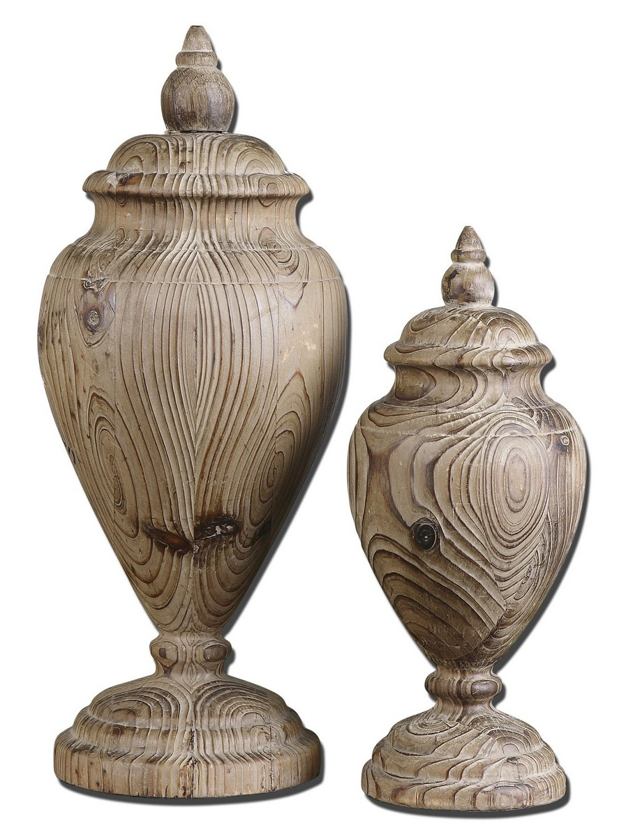 Uttermost Brisco Carved Wood Finials - Set of 2