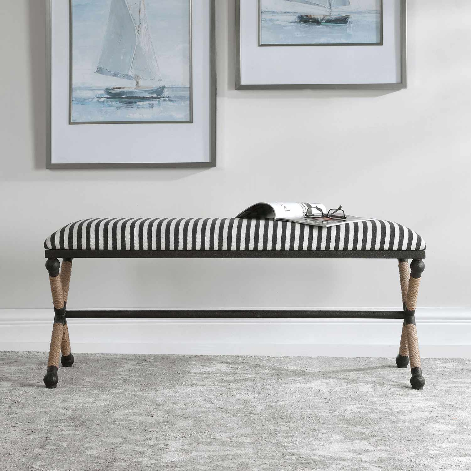 Uttermost Braddock Striped Bench