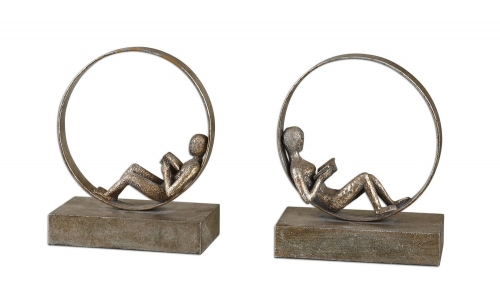 Lounging Reader Antique Bookends - Set of 2