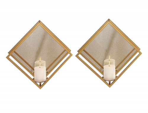 Zulia Candle Sconces - Set of 2 - Gold