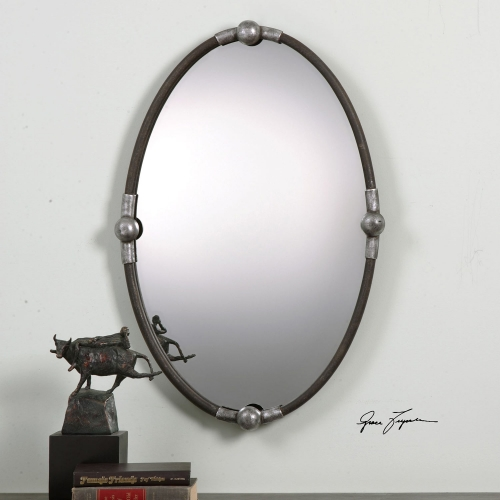 Carrick Black Oval Mirror
