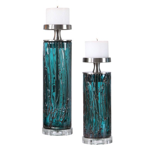 Almanzora Teal Glass Candleholders - Set of 2