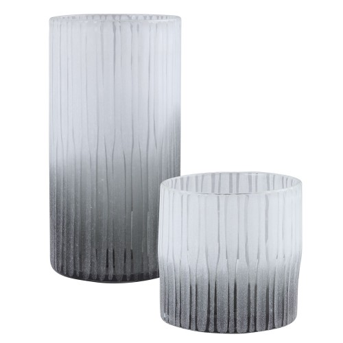 Como Etched Glass Vases - Set of 2