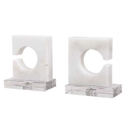 Clarin Bookends - Set of 2 - White/Gray