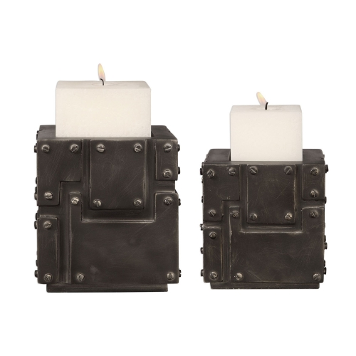 Malak Metal Block Candleholders - Set of 2
