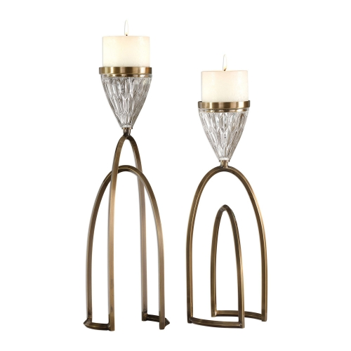 Carma Candleholders - Bronze and Crystal - Set of 2