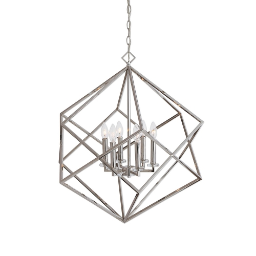 Euclid 6-Light Cube Pendant - Nickel