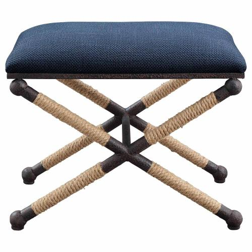 Firth Small Fabric Bench - Navy