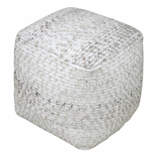 Valda Wool Pouf - Gray