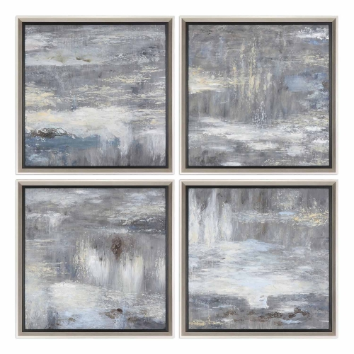 Shades of Gray Hand Painted Art - Set of 4