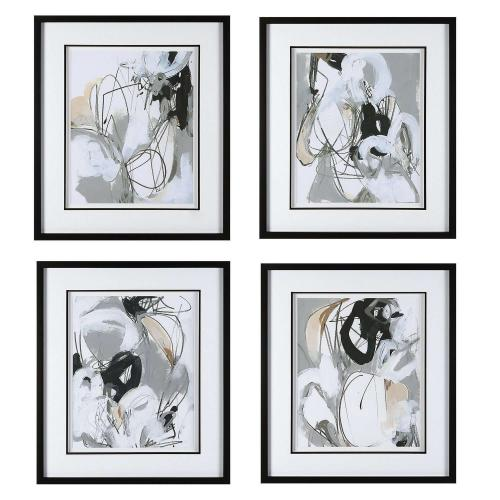 Tangled Threads Abstract Framed Prints - Set of 4